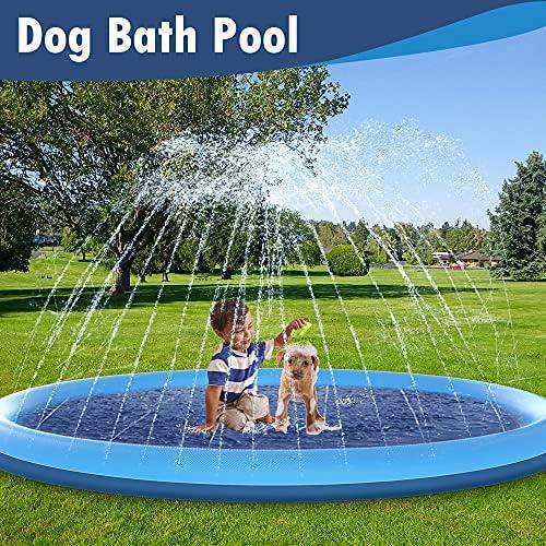 Raxurt Piscine pour Chien, 170cm antidérapant, arrosage pour chiens, épais, durable, piscine pour animaux, jouets d'eau d'été Extérieur, XXL