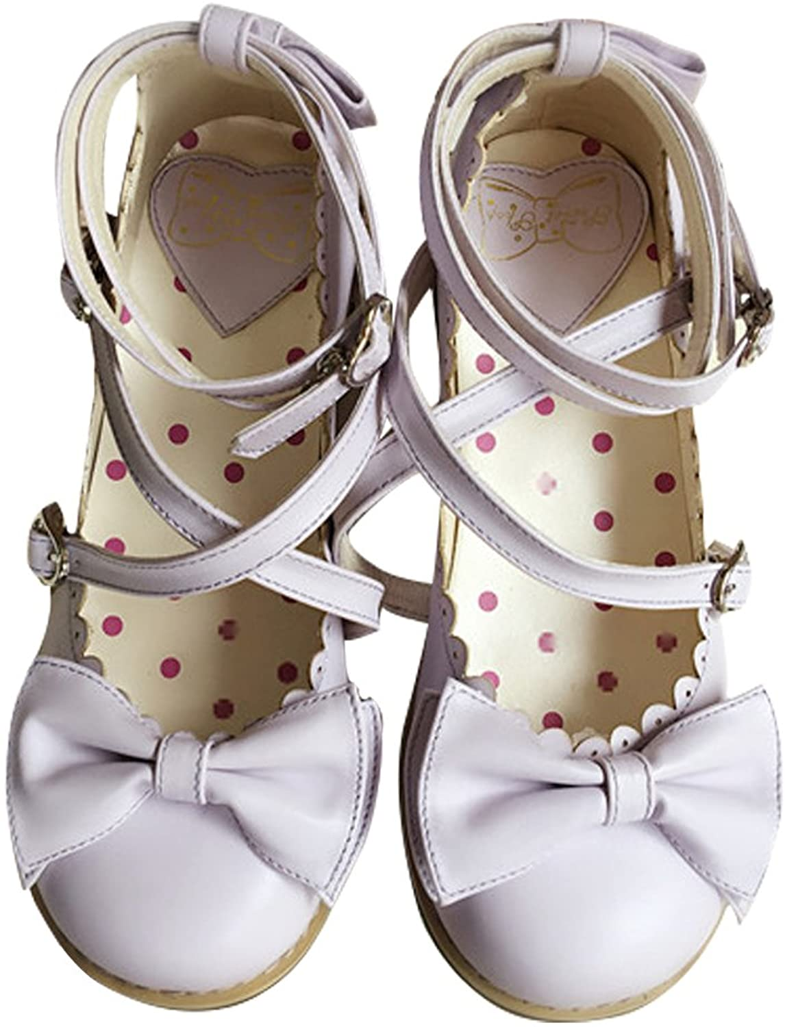 Japanese Sweet Lolita Low Chunky Heels Round Toe Bowtie Strappy Princess shoes