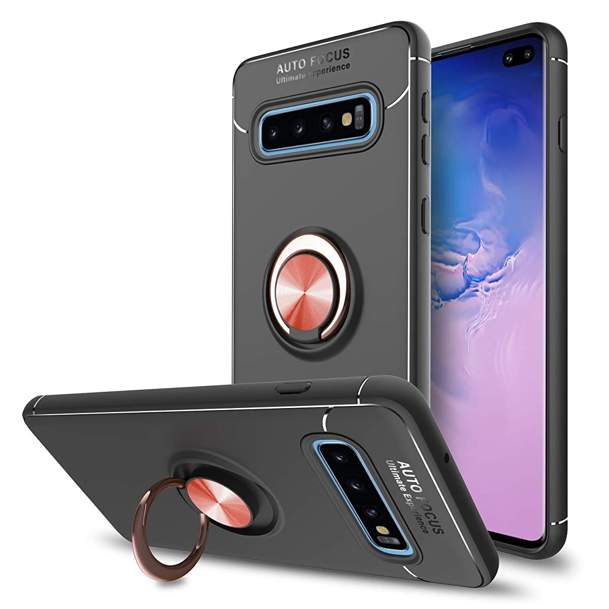 Innens Compatible Galaxy S10 Plus Case with Kickstand, Samsung S10 Plus Case Shock Absorption Slim Armor Protective Cover Case with Metal Ring Bracket for Samsung Galaxy S10 Plus Case (Rose Gold)