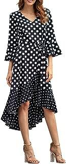 2019 Spring New Wave Long Sleeve dot Irregular V-Neck Large Size Dress