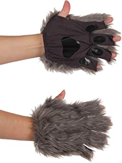Gray Fingerless Costume Wolf Paws for Adults or Kids
