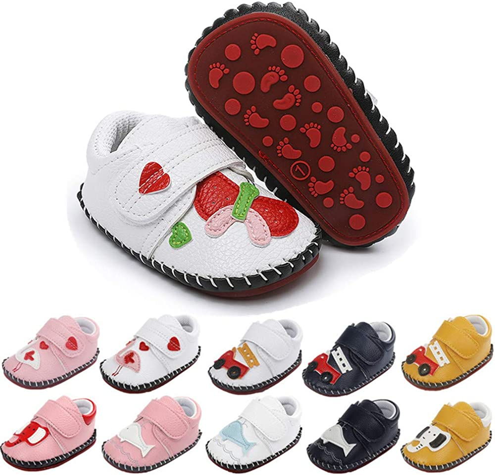 BiBeGoi Infant Baby Boys Girls Cartoon Walking Sneaker PU Leather Rubber Sole Toddler Hard Bottom First Walker Slippers Crib Shoes