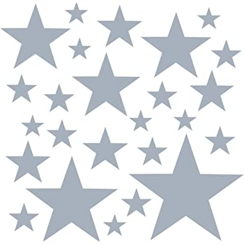 Decals for Bedrooms for Girls Boys Light Grey PREMYO Set of 25 Star Wall Stickers Kids Nursery Decor Easy to Apply