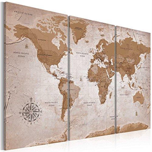 murando - Cuadro en Lienzo Mapamundi 90x60 cm Impresión de 3 Piezas Material Tejido no Tejido Impresión Artística Imagen Gráfica Decoracion de Pared - Geografia Mapa del Mundo k-A-0106-b-e