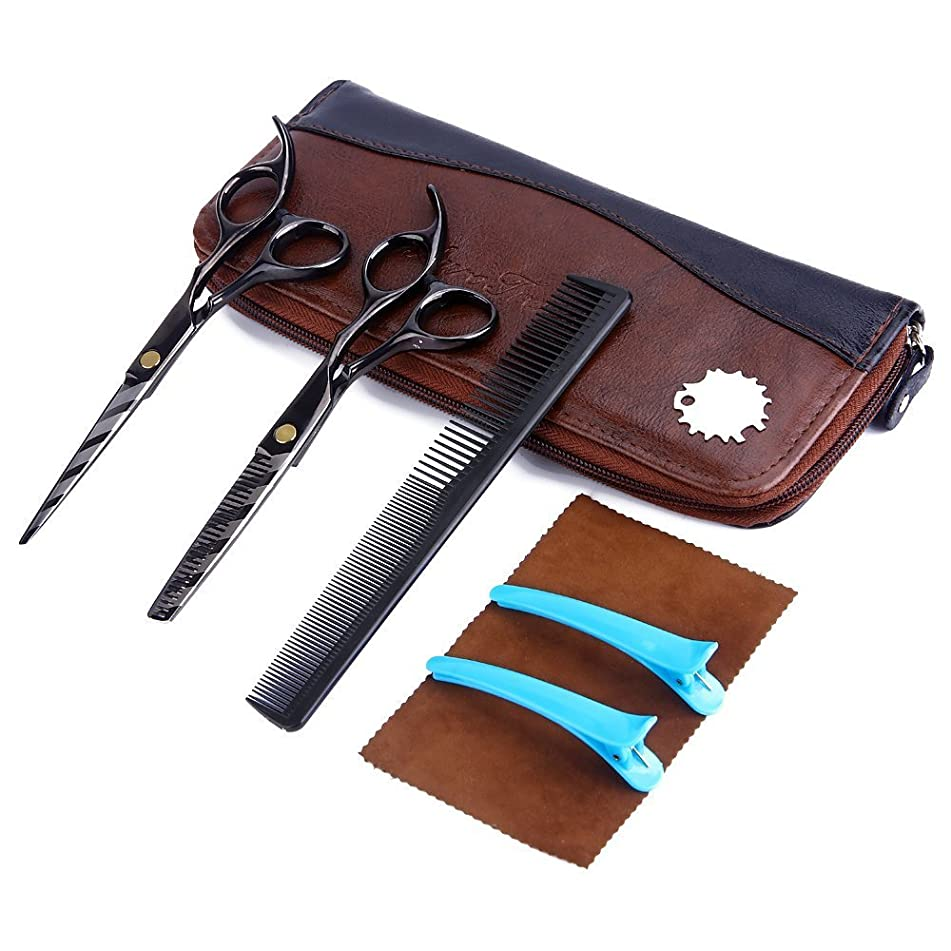 AuroTrends Professional Barber Razor Edge Hair Cutting Shears Set,Hairdressing Scissors and Hair Thinning Scissors/Shear Set+ Free Case/Hairclips/Comb/Cleaning Cloth (Black Stripe)