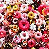 sortiert 30 Stück Cute Candy Perlen Fruit Dessert Eis Kunstharz Charms Scheiben Flache Tasten für Handwerk Zubehör Scrapbooking Telefon Fall Decor, Donut, 10mm-25mm