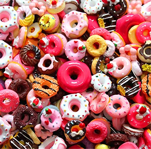 Assorted 30pcs Cute Candy Resin Charms Beads Fruit Dessert Ice Cream Plastic Slices Flatback Buttons for Handcraft Accessories Scrapbooking Phone Case Decor (Donut)