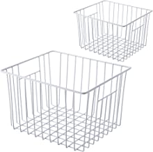 SANNO Freezer Wire Storage Organizer Basket, Household Refrigerator Bin with Built-in Handles for Cabinets, Pantry, Closets, Bedrooms - Set of 2