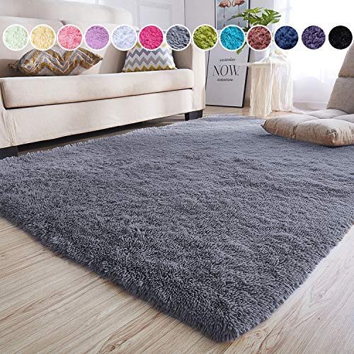 junovo Rectangle Ultra Soft Area Rugs Fluffy Carpets for Bedroom Living Room Shaggy Floor Rug Home Decor Mats, 4 x 5.3ft, Grey