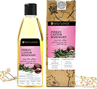 Soulflower Coldpressed Indian Castor Rosemary Hair Nourishment Oil for Thin Hair and Split End, Dry Frizzy Hair and Dandru...
