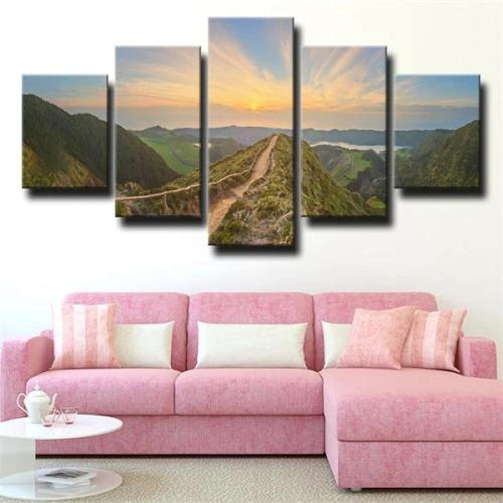 5 Panel Art Attention brand Piece Wall large Hills wall online shopping Landscape Sunrise