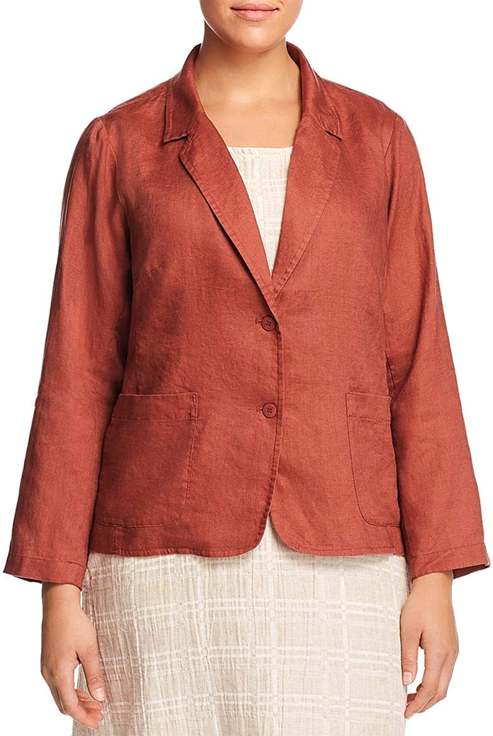EileenFisher Womens Plus Linen Shaped TwoButton Blazer