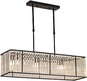 BAYCHEER Modern K9 Clear Crystal Rectangle Island Dining Room Chandelier Lighting Ceiling Light Fixture Pendant Hanging Lamp for Dining Room Bedroom Livingroom 3 Lights Black Finish