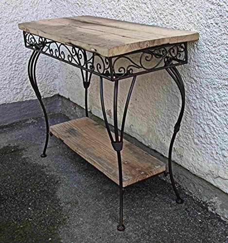 crafts & design Konsolentisch, Beistelltisch Landhaus, Metall und Holz alte Ulme, 90x40x75 cm