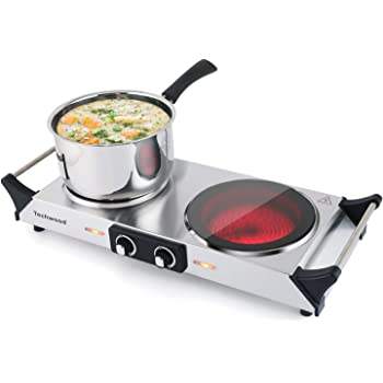 Techwood Hot Plate Electric Double Burner Ceramic Infrared Portable Electric Stove 1800W Adjustable Temperature, Stay Cool Handles, Non-Slip Rubber Feet, Stainless Steel Easy Clean, Upgraded Version