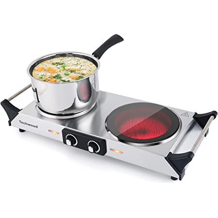 Techwood Electric Stove, Double Infrared Ceramic Hot Plate for Cooking, Two Control Cooktop Burner, Portable Anti-scald handles Suitable for Office/Home/Camp Use, 1800W Compatible for All Cookwares