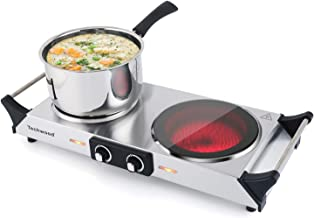 Techwood Electric Stove, Double Infrared Ceramic Hot Plate for Cooking, Two Control..