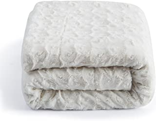 DaDa Bedding Luxury White Roses Fluffy and Cuddly Faux Fur with Sherpa Backside Fleece Cloud Throw Blanket - Super Soft Warm Plush Luxe Solid Toss for Sofa, Couch or Queen Bed, 90