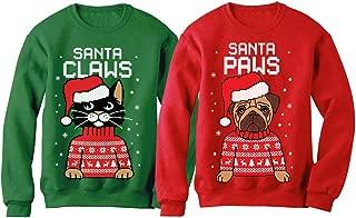 Santa Paws Santa Claws Ugly Christmas Sweater Sweatshirt Matching Couple Set