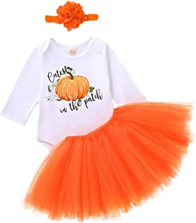 Infant Newborn Baby Girl Halloween Clothes Cutest Pumpkin Romper+Handmade Skirt+Headband Fall Sets