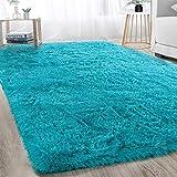 Soft Shaggy Area Rug for Bedroom Dorm Livingroom Decorative Floor Carpet, Modern Indoor Large Plush Fluffy Comfy Nursery Kids Playroom Furry Fur Accent Rugs 4x6FT, Teal Blue