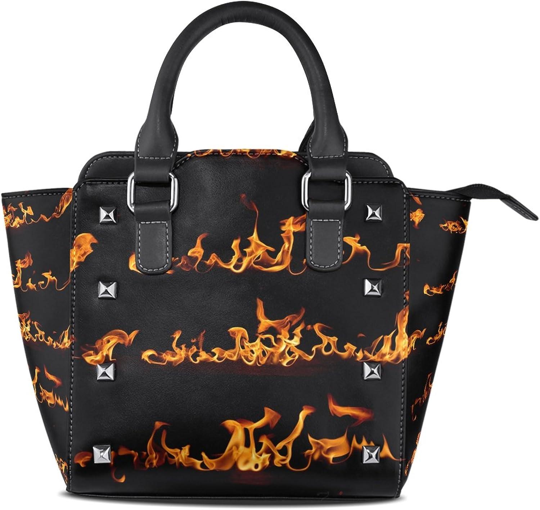 Sunlome Flame Set Print Handbags Women's PU Leather Top-Handle Shoulder Bags