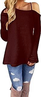 Kaei&Shi Off The Shoulder Tops for Women,Waffle Knit Sweatshirt,Loose Sexy Sweater