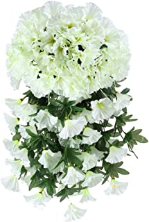 Artificial Hanging Flowers, HO2NLE 4PCS Fake Silk Morning Glory Hanging Vine Plants Faux Flower Hang Garland DIY for Home Garden Wall Fence Stairway Outdoor Wedding Hanging Baskets Decor White