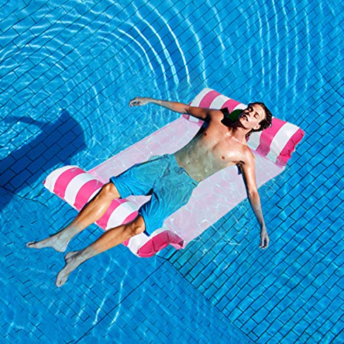 FIGROL Pool Float Water Hammock Multi-Purpose Swimming Pool Float Hammock Portable Pool Outdoor Toys for Saddle, Lounge Chair, Hammock, Drifter(Red)