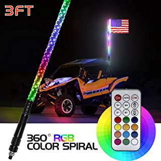 LED Whip Lights with Flag 3FT 360° Spiral LED Whips Lighted Antenna Whips RGB Lights Multi-Color Remote Control Warning Lights for Offroad Vehicle ATV UTV RZR Trucks Jeep Dunes Motorcycles Boat