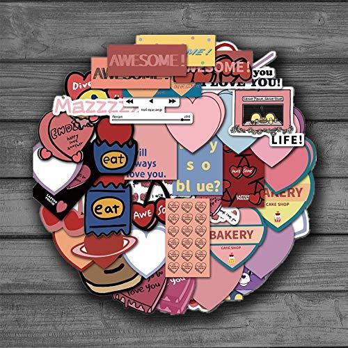 JUNZE Love Muffin Nevera papelería Pegatina Linda Chica corazón Mano Cuenta Material teléfono portátil Equipaje Pegatinas 44 Uds