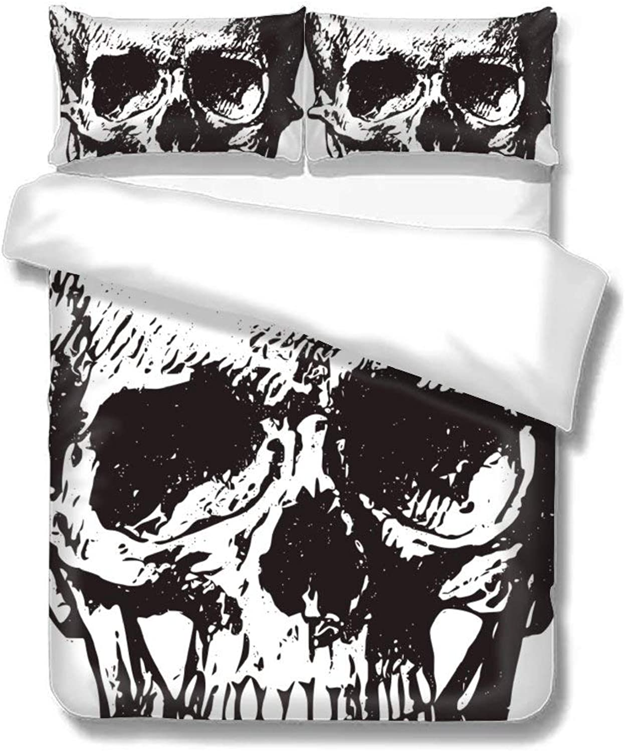Set of Three On The Bed Skull Taro Skeleton Man Home Bedding Duvet Cover Set Bed Sheets Set Soft Comfortable Breathable King Size