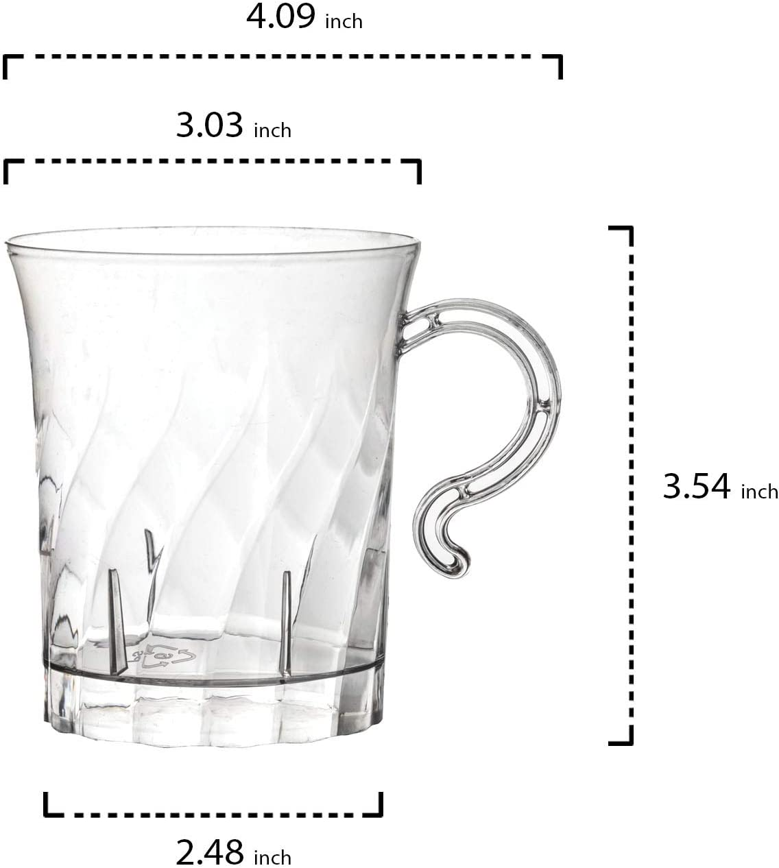 Swirled Coffee//Tea// Party Cups With Handle Clear 10 Count Plus 1 Punch Bowl and 1 Ladle Party Essentials Hard Plastic 8 oz