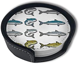 JHXZML Mackerel Vector Cartoon Illustration Drink Coasters Holder,Round Cup Mat Pad Protect Your Furniture from Stains,Coffee (6-Piece Set)