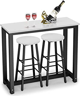 Tribesigns 3-Piece Pub Table Set, Counter Height Breakfast Bar Dining Table Set with 2 Bar Stools for Kitchen, Dining Room, Living Room, Small Space (White)