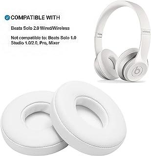 Reemplazo de Almohadillas, WADEO 2 Piezas Cojín de Almohadillas de Espuma para Beats Solo 2.0 Auriculares con Cable/inalámbricos(Blanco-Inalámbrico)
