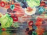 Brokatstoff mit Blumenmuster, Digitaldruck, Lurex, gewebt,