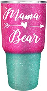 Mama Bear on Pink Turquoise Glitter Ombre 30 oz Stainless Steel Tumbler