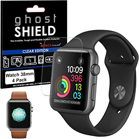 TECHGEAR [4 Pack] Screen Protectors to fit Apple Watch 38mm [ghostSHIELD Edition] Genuine Reinforced Flexible TPU Screen Protector Guard Covers with Full Coverage inc Curved Screen [Series 3 2 1]
