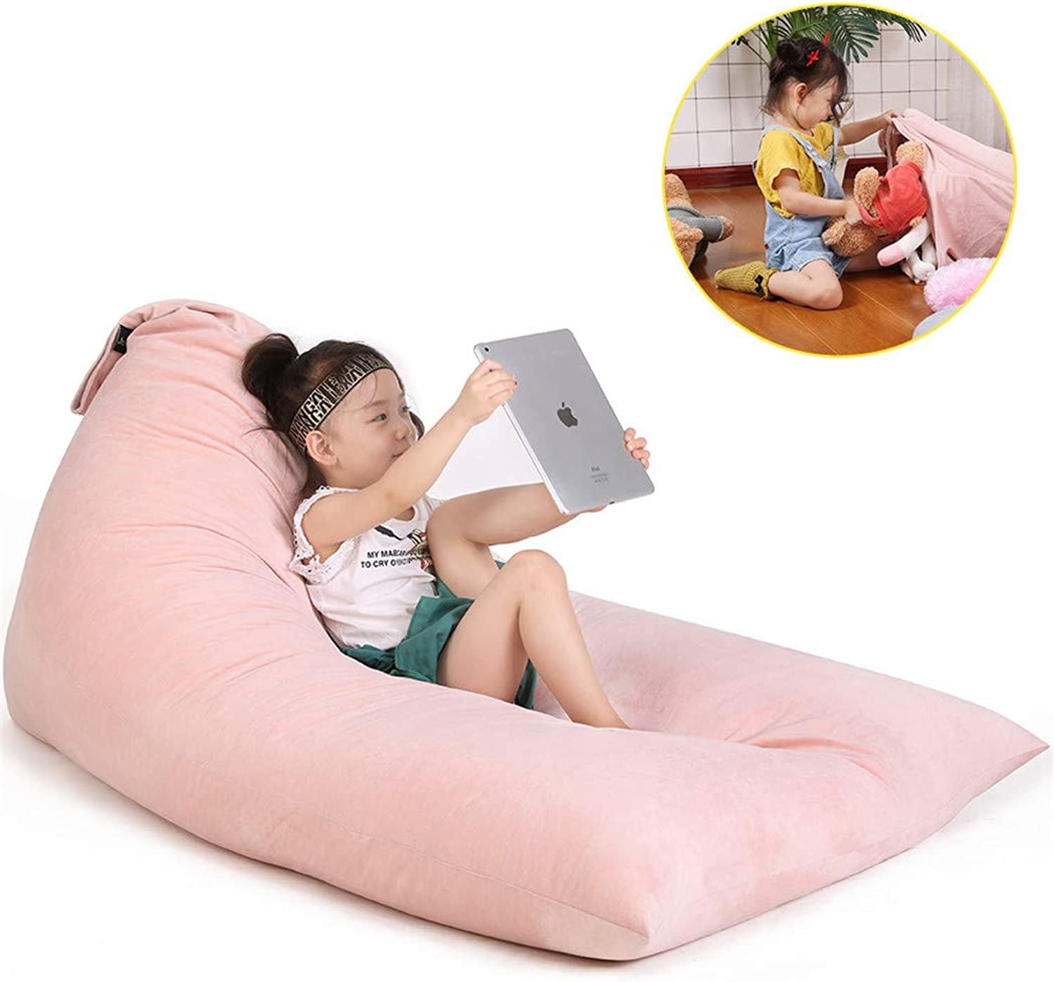 Stuffed Animal Storage Bean Bag Chair for Kids and Adults. Luxury Velvet Stuffie Seat - Cover ONLY(Sweet Pink 200L 52 Gal)