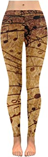 Custom Vintage Music Note Stretchy Capri Leggings Skinny Pants for Yoga Running Pilates Gym(2XS-5XL)