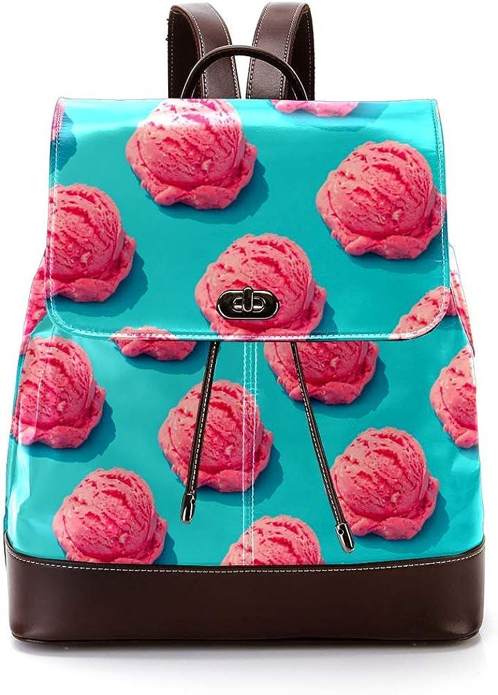 Pink Ice-Cream PU Leather Backpack Fashion Shoulder Bag Rucksack Travel Bag for Women Girls