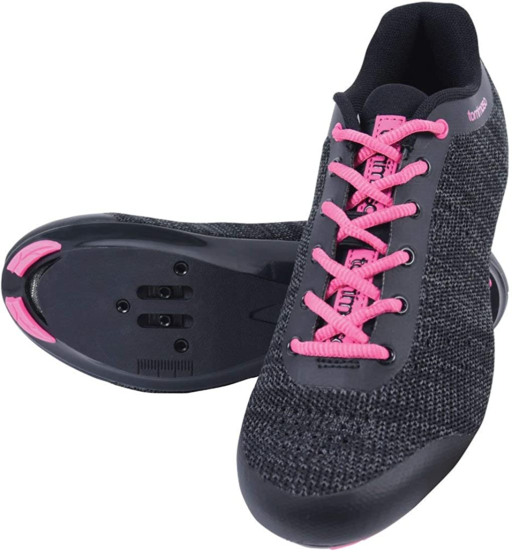 Grey Black SPD Look Delta Pink Blue Tommaso Pista Aria Knit Womens Spin Class Ready Cycling Shoe and Bundle with Compatible Cleat