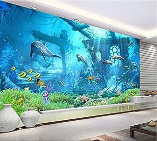 Minyose Underwater World Ocean Dolphin Background Wall 3D Wallpaper Kids Room Decorated Wallpaper for Walls 3 D-400Cmx280Cm