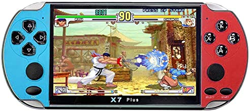 Mintuse X7 Plus Portable Retro Game Console Built in 1000 Games, 5.1 Inch Large Screen PSP Mini Arcade FC Red and White Co...