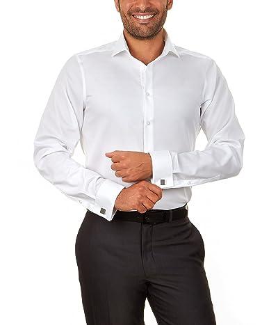 Calvin Klein Dress Shirt Slim Fit Non Iron Herringbone French Cuff
