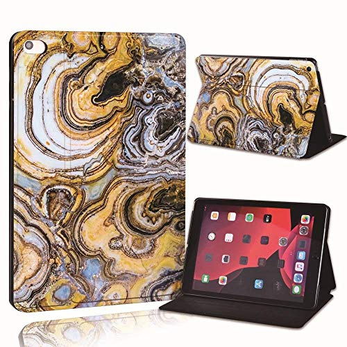 Printed Marble Pu Leather Smart Tablet Stand Folio Stand Case Cover For Ipad 2 3 4 5 6 /Ipad Mini 1 2 3 4 5 /Air 1 2 3/Pro 2nd (Color : Amber marble, Size : IPad Pro 2nd 10.5)