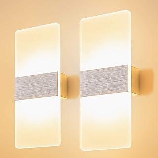 Yafido 2 * 12W Applique Murale Interieur LED 3000K Lampe Murale Blanc Chaud Verre Design Simple Gris Brosse AC 220V pour C...