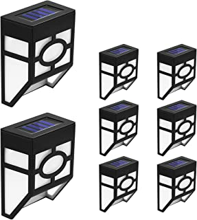 Smartinliving LED Solar Wall Lights Outdoor, LED Waterproof Solar Fence Post Lights, Cool White 6500K for Outdoor Deck, Garden, Patio, Yard, Stairs, Landscape, Driveway, Pathway, 8 Pack