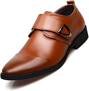 XinQuan Wang Formal Business Oxfords for Men Leisure Cap Toe Shoes Hook&Loop Strap Faux Leather Pointed Toe Metal Decoration Block Heel (Color : Brown, Size : 5.5 UK)